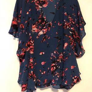 Floral Rachel Roy Flutter Sleeve Blouse for Women